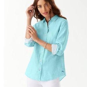 Tommy bahama sea swell linen boyfriend shirt S NWT
